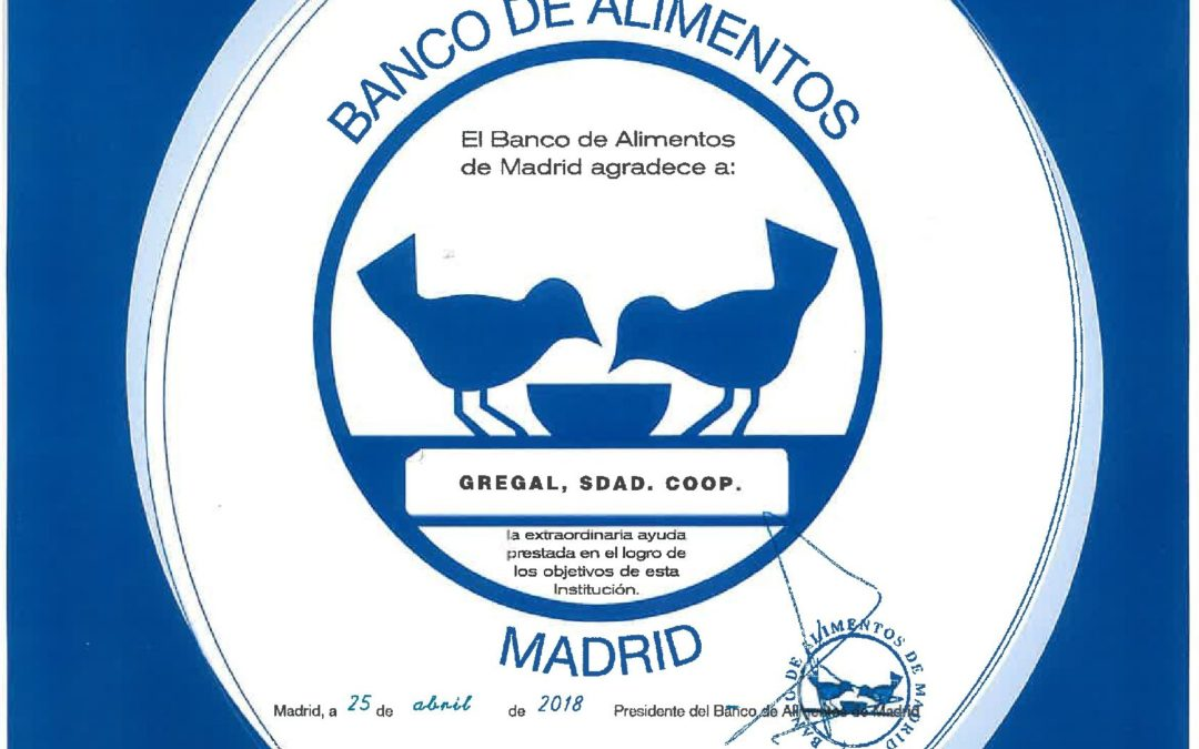 Gregal SOCIEDAD COOPERATIVA colabora con el banco de alimentos de Madrid